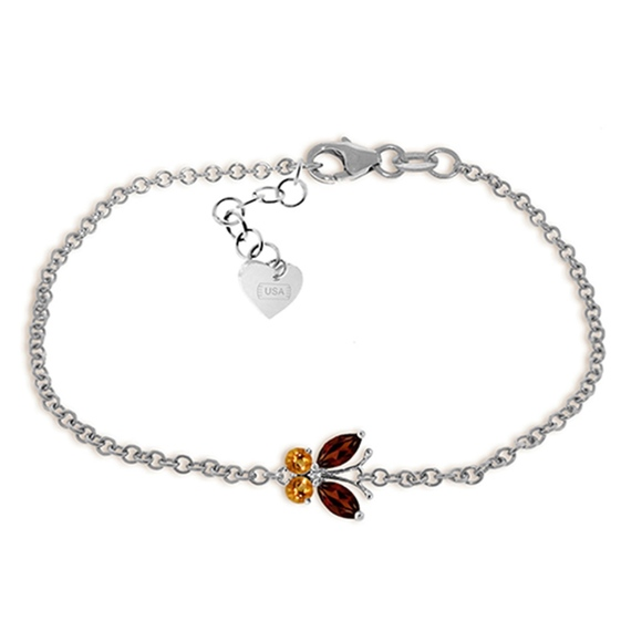 Galaxy Gold Products Jewelry - GOLD BUTTERFLY BRACELET WITH GARNETS & CITRINES